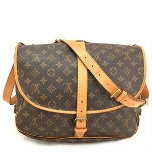 Auth Louis Vuitton Saumur 35 Crossbody #2179L21